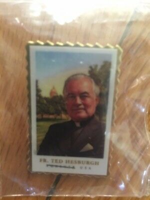 Father Hesburgh Notre Dame Stamp PIN First Issue Day 100% Charity Auction