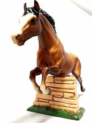 "Breyer Large Jumping Bay Brown Stallion w/ Wall 14"" Horse Figure Loose EUC"