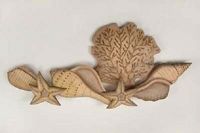 Coastal Art Designs Shell Cluster Underwater Hand Carved Wood Wall Sculpture