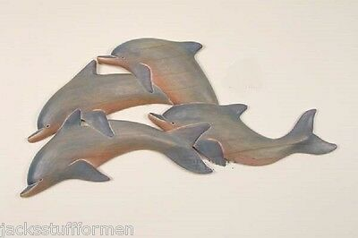 COASTAL ART DESIGNS Hand Carved Wood 4 Dolphin Panel Wall Sculpture