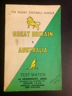Rugby League Programme - Great Britaian V Australia 1967