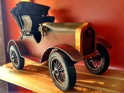 Vintage Wooden Wood Steel Decorative Display Ford Model T Car w/ Rubber Wheels