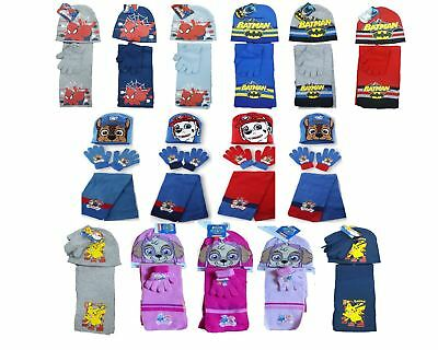 New Kids Paw Patrol Pokemon Batman Winter Knitted Hat, Scarf & Glove Set
