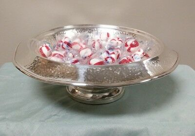 Elgin Silversmiths Co New York Sterling Silver Hammered Fruit Centerpiece Bowl