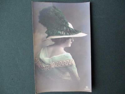 "Real Photo Pc. "" Young Lady In A Big  Fancy Ostrich  Feathered Hat "" Posted 1912"