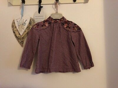 Girls Plum Purple Floral Shoulder Button Back Top From Next Age 18-24 Months