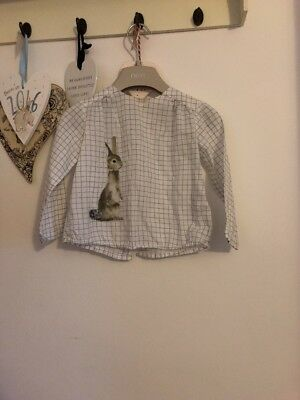 Girls Pretty Neural Square Pattern Button Back Top From Zara With Bunny 18-24 Mo