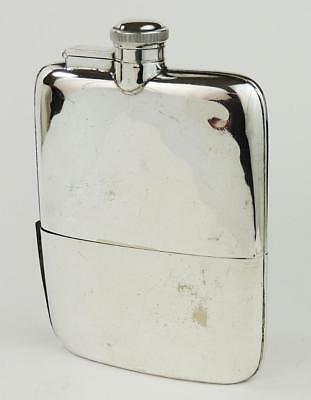 ASPREY Antique HIP SHAPED SILVER PLATED HIP FLASK c1920​