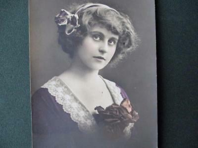 "Real Photo Postcard  ""  Young  Lady With  Ribbons & Rose    "" Farnworth,1912"