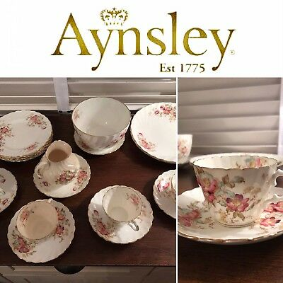 Aynsley China 20pcs Excellent Condition Tea Set no chips Gold Trim!!! Fine China