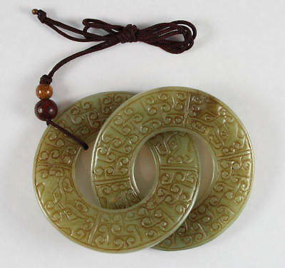 Carved Chinese Jade Double Rings Intertwined Bi Discs Archaic Carving
