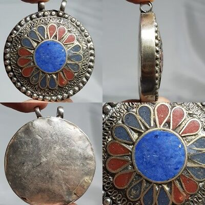Near Eastern Old Wonderful Lapis coral inlaid Silver Pendant  # d1