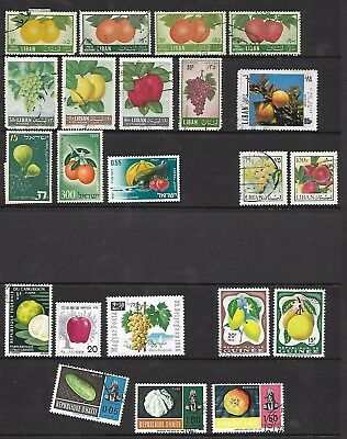 Fruits stamps on A4 stockcard - Haiti,Guinea & others