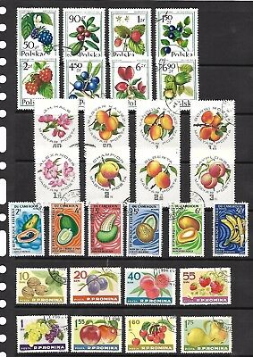 Fruits stamps on A4 stockcard - Cameroun,Romania & others