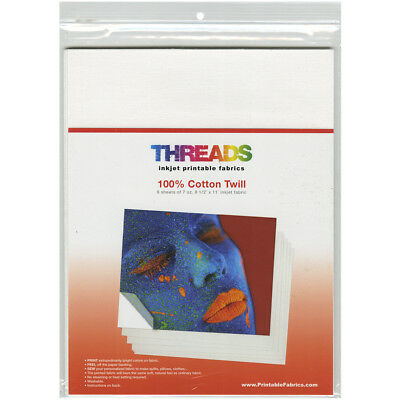 "THREADS Inkjet Printable Fabric Sheets 8.5""X11"" 6/Pkg 100% Cotton Twill 100481"