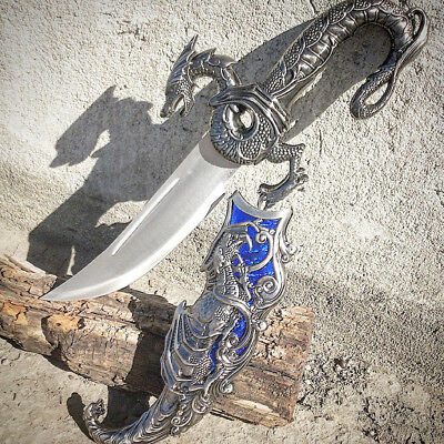 """Large 17"""" Collectible Fantasy BLUE DRAGON Gothic Athame Wicca Pagan DAGGER"""