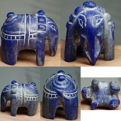 Very Old Bactrian Lapis lazuli Elephant Stone Statue  #d1