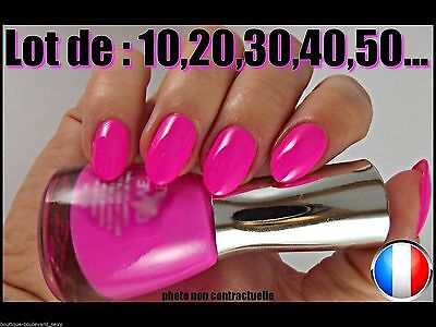 ❤ Manucure ❤ Lot Capsules Faux Ongles Rose Fluo Américain Nail Art Flashy Sexy ❤