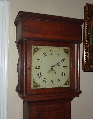 Georgian Period Oak Grandfather Clock white dial 30 hour