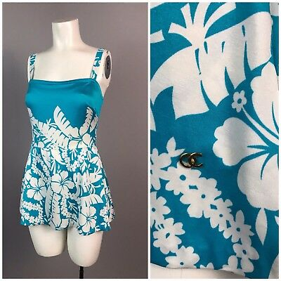Vintage 1970s Blue and White Floral One Piece Skirted Swimsuit Playsuit M