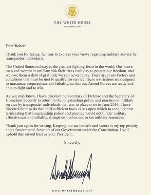 Horrible Letter From Trump