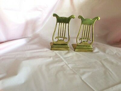 Pair of Vintage Solid Brass Music Note Themed Bookends