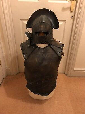 LARP Role Play toughened leather helmet breastplate & shoulder guard armour