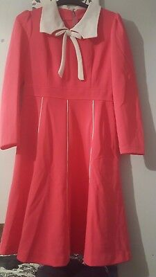 Vintage Retro Cute Mod 1960S Pink With White Collar/bow Front Dress  Size 18