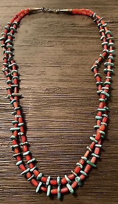 Old Pawn Native American Sterling Silver Real  Coral And Turquoise Bead Necklace