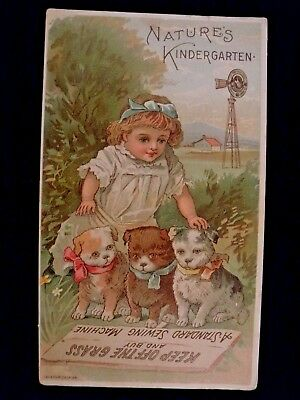 Victorian 1800's Trade Card - Standard Sewing Machine Girl and Dog Trio