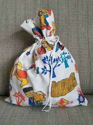 Vintage fabric Magic Roundabout childrens shoe bag / PE kit bag