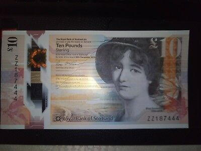 Royal Bank Of Scotland  ZZ1 Unique Numbered note ending 444 UNC NEW Polymer