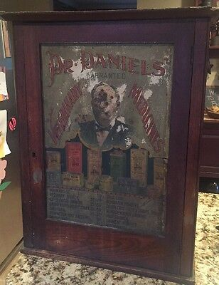 Late 1800'S RARE DR. DANIELS VETERINARY CABINET/WITH TIN ADVERTISING