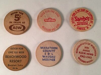 Wooden Nickels - Wisconsin-Lot of 6-Sambo's, Weiner King, A&W and more
