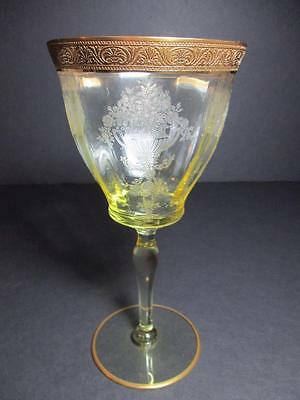 Tiffin ATHENS DIANA Pattern MANDARIN YELLOW Gold Encrusted Water Goblet(s)