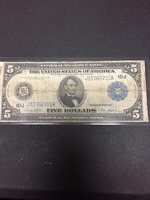 1914 Large Size $5 Dollar Bill Blue Seal Note Kansas City Federal Reserve