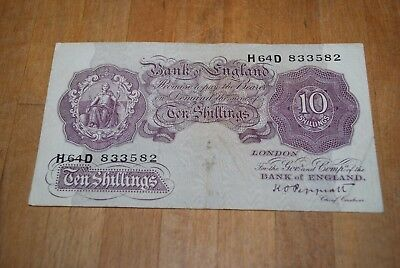 Ten Shillings 10s Bank Of England Note K. O. Peppiatt Mauve Circa World War 2