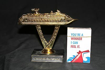 Carnival Cruise Line Ship On Stick Trophy Carnival Sunshine W/new Deck Of Cards