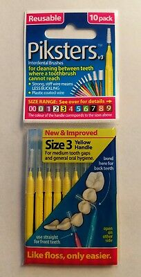 Piksters Interdental Brushes - 10 Pack - Size 3 - Yellow - Brand New FREE POST#
