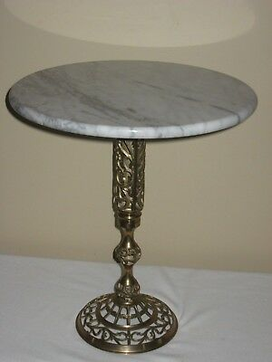 """Marble Top Filigree Brass 17"""" Table Plant Stand Hollywood Regency Mid Century"""