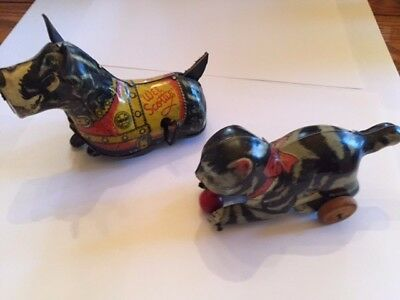 Two Adorable  Tin Wind-Up Toys:  Chein Cat & Marx Scotty