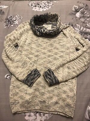 Zara Boys Jumper Cowl High Neck Top Stag Knit Christmas Age 5-6