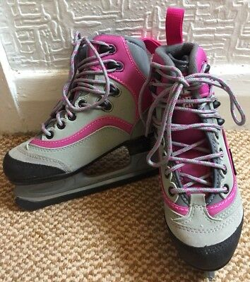 CCM SP Jamie Girl Grey/Pink Comfort Series Recreational Ice Skates Size 13J