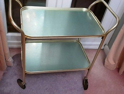 Hostess trolley, green and gold colour, 1960s