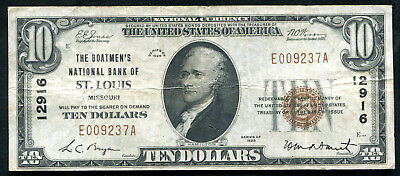 1929 $10 The Boatmen'S Nb Of St. Louis, Mo National Currency Ch. #12916