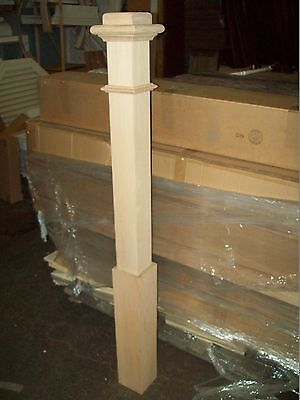 "LJ SMITH OAK STAIRCASE 4 1/2 X 65"" NEWEL POST # 4176 - SOLID W/SLEEVE - NEWnBOX"