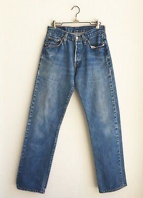 VINTAGE LEVI's 501 INDIGO BLUE JEANS size 28 x 32 GREAT CHARACTER AND FADE