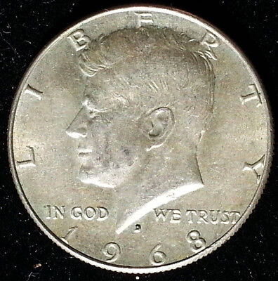 1968 D 50C Silver Kennedy Half Dollar Historic Very Nice Coin Beautiful Details