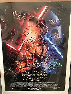 Force Awakens multi signed poster COA - Daisy Ridley, Harrison Ford, Mark...