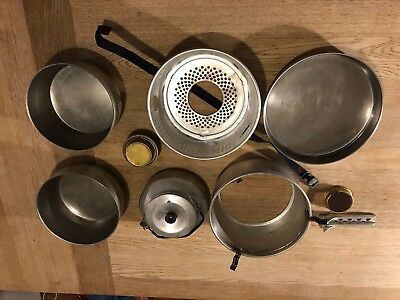 Trangia stove set, runs on meths. Includes pots and kettle.